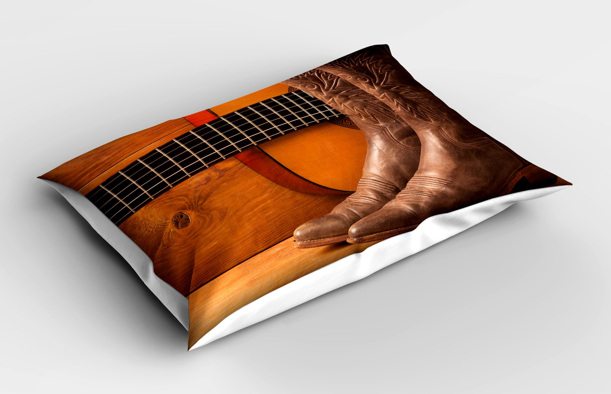 Lunarable Western Pillow Sham, American Country Music Theme Guitar Instrument and Cowboy Shoes on Wood Image, Decorative Standard Queen Size Printed Pillowcase, 30 X 20 Inches, Brown Orange by Lunarable (Image #2)