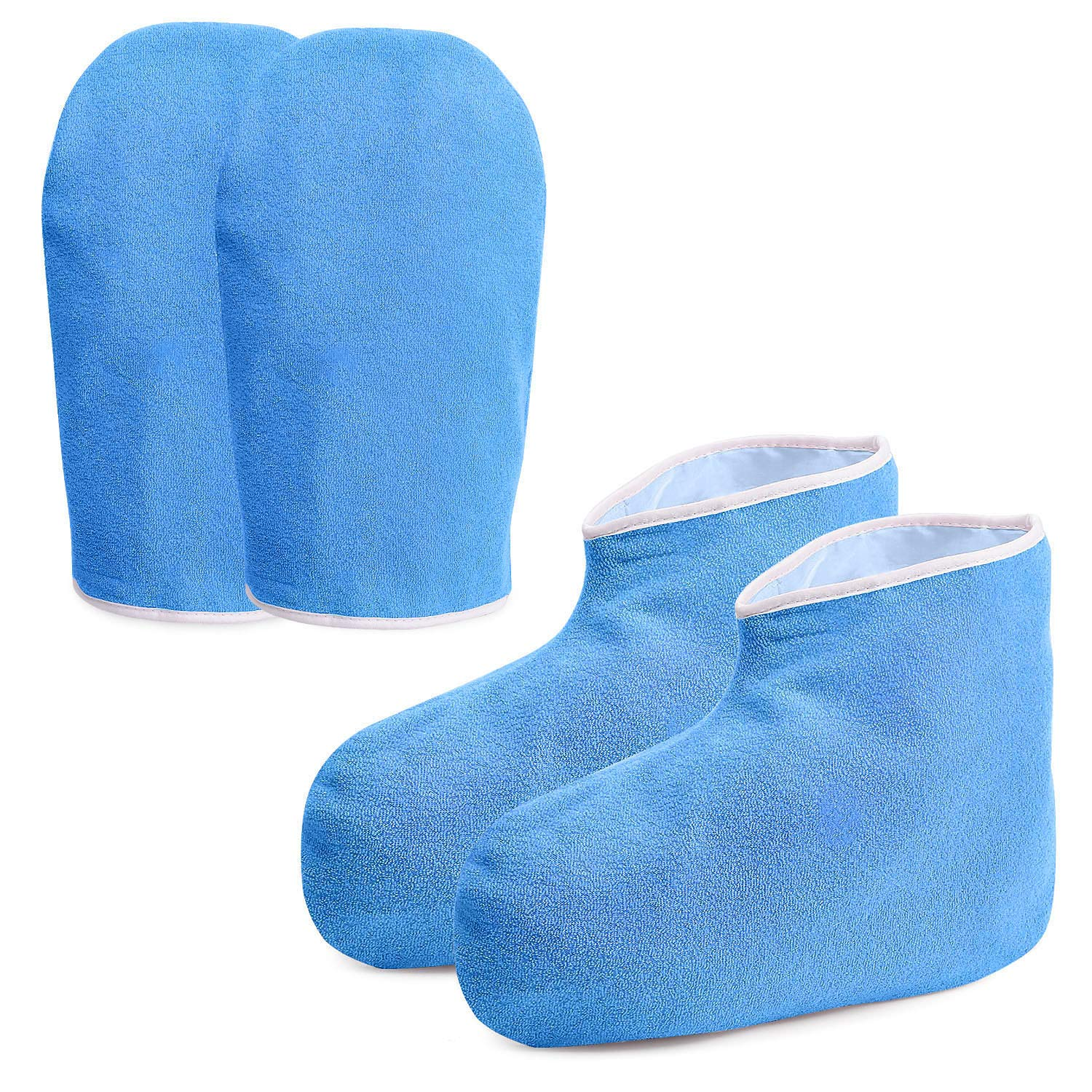 Paraffin Wax Work Gloves & Booties, Wax Bath Hand Treatment Mitts Foot Spa Cover for Women, Thin Heat Therapy Insulated Soft Cotton Mittens Feet Hand Care Set - Blue by Noverlife
