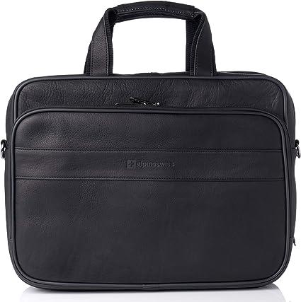 Alpine Swiss Messenger Bag 15.6 Inch Laptop Briefcase with Tablet Sleeve Black