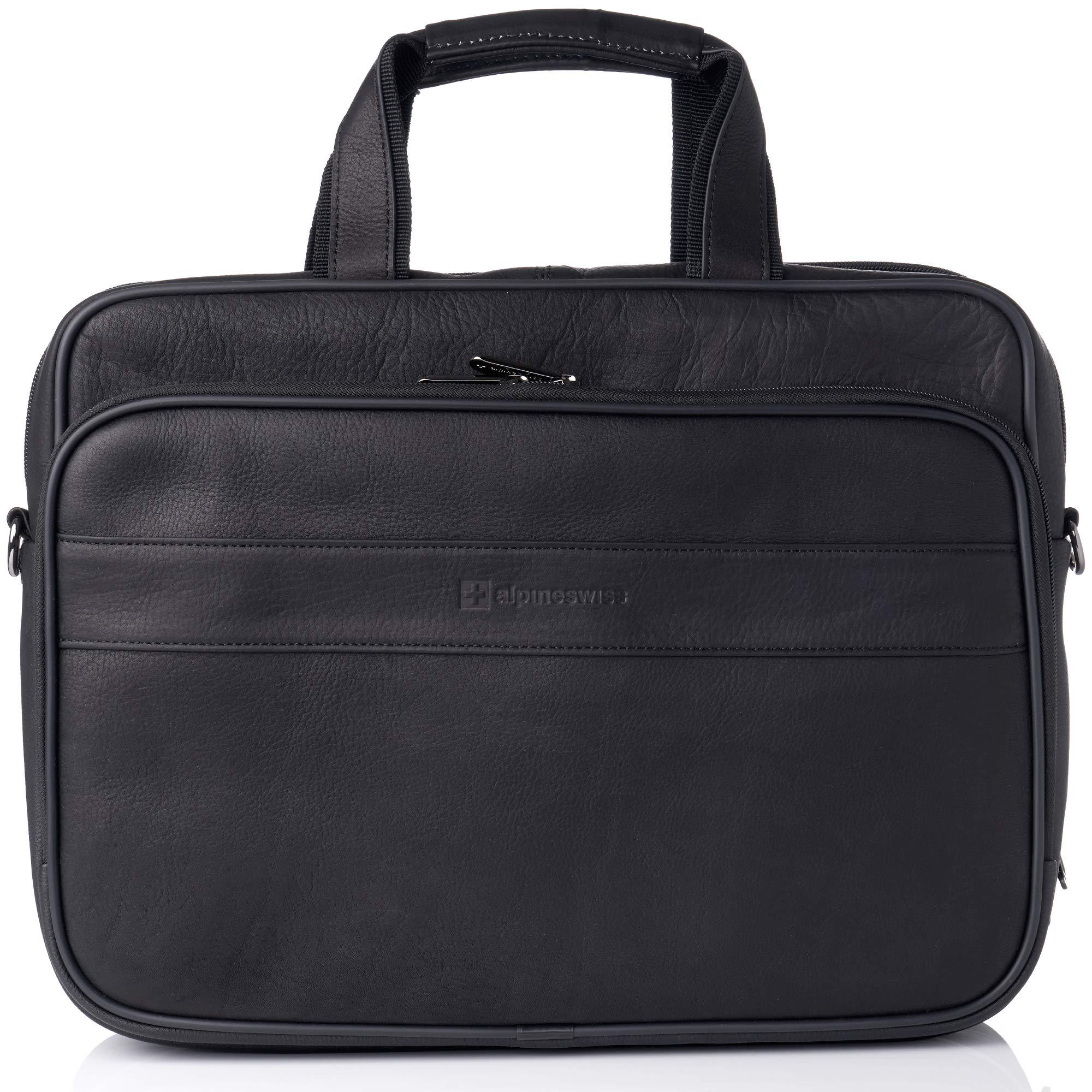 Alpine Swiss Messenger Bag Colombian Leather 15.6'' Laptop Briefcase Portfolio