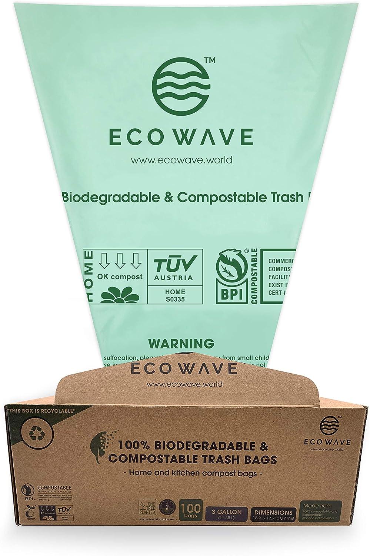 ECO WAVE 100% Compostable trash Bags, 3 Gallons, 100 Bags