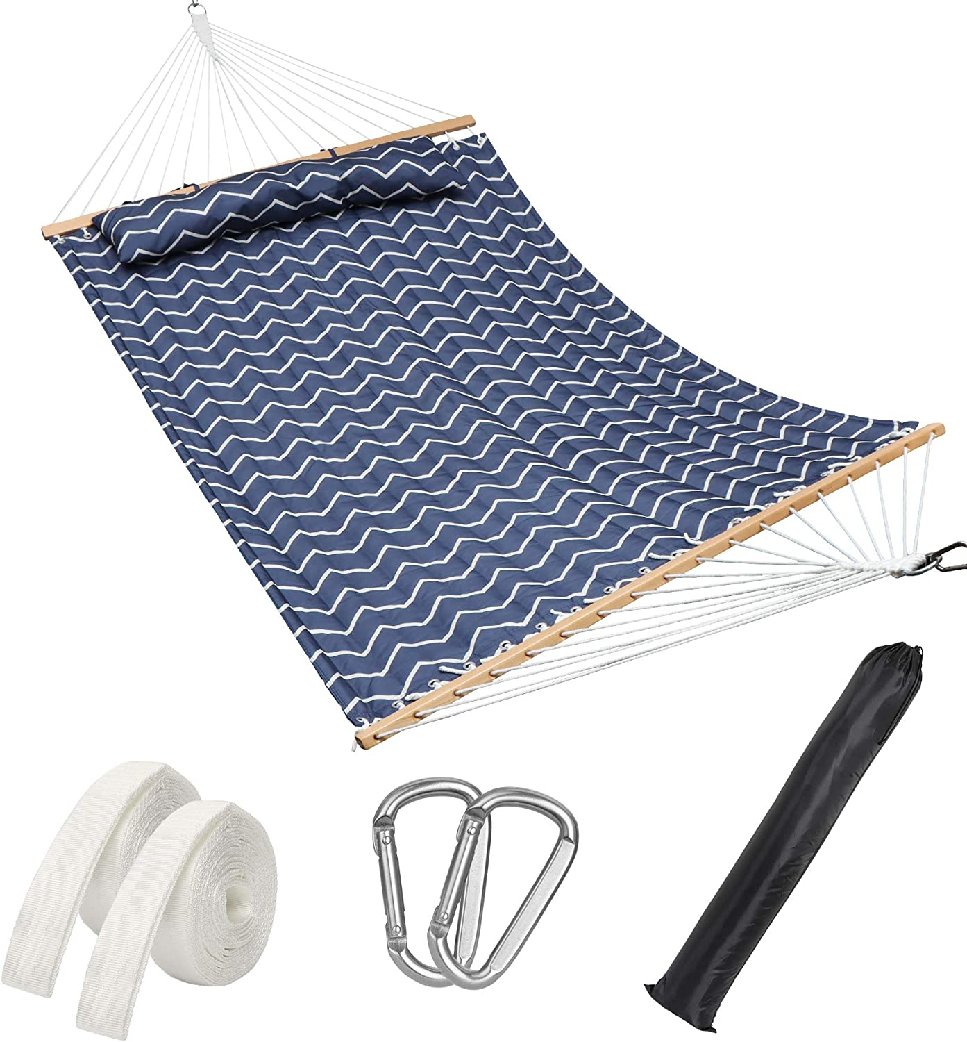 D G SIMOS Double Quilted 2 Person Hammock Swing, Detachable Pillow, 2 Adjustable Tree Straps, 2 Carabiners, Carry Bag. Heavy Duty 450 Lbs Capacity Perfect for Home, Bedroom & Travel - Navy Chevron