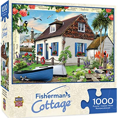MasterPieces Flower Cottages Jigsaw Puzzle, Fisherman's Cottage, Featuring Art by Howard Robinson, 1000 Pieces: Toys & Games