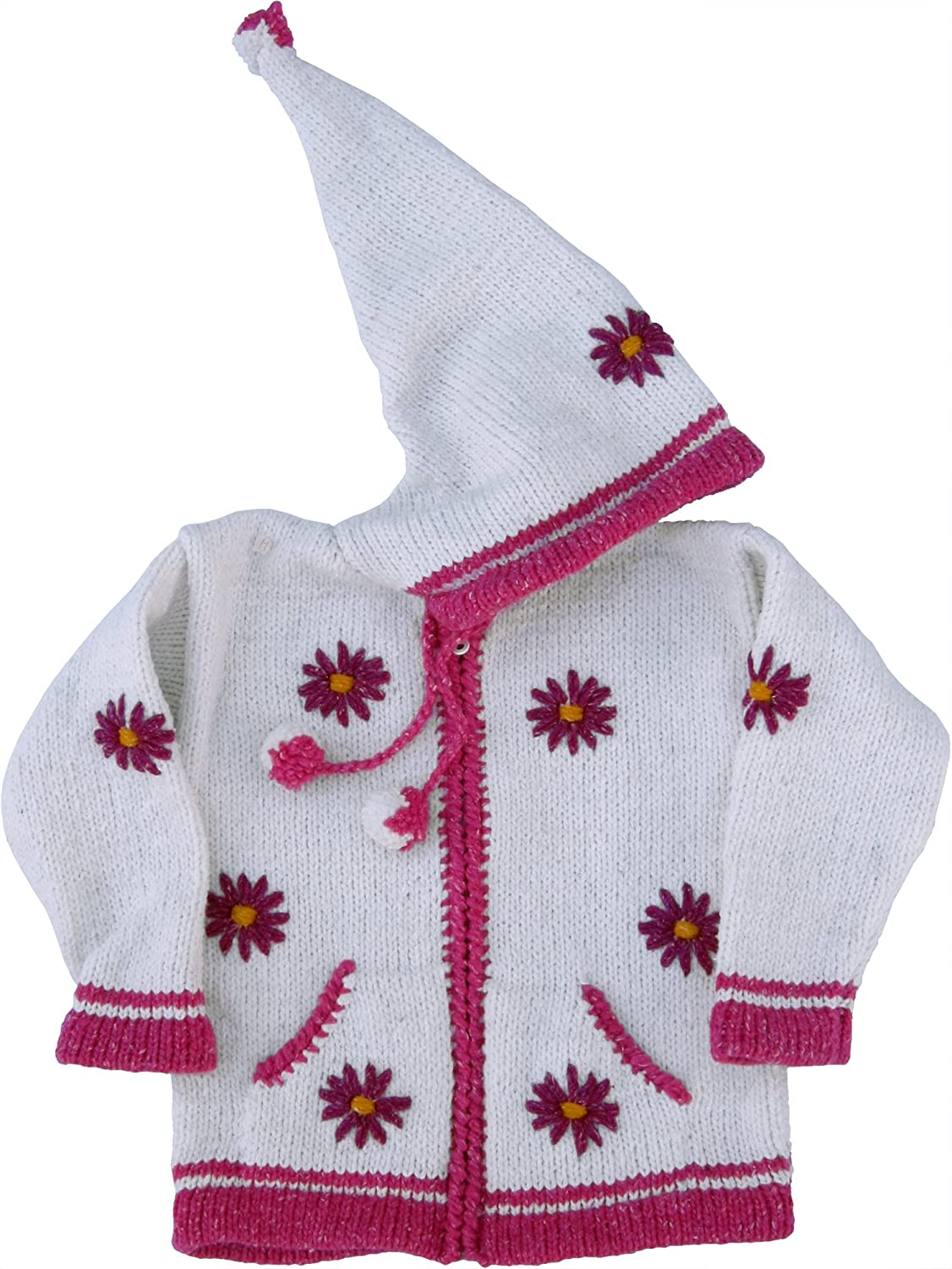 White Flowered Childs Sweater with Pointy Hood Infant Size