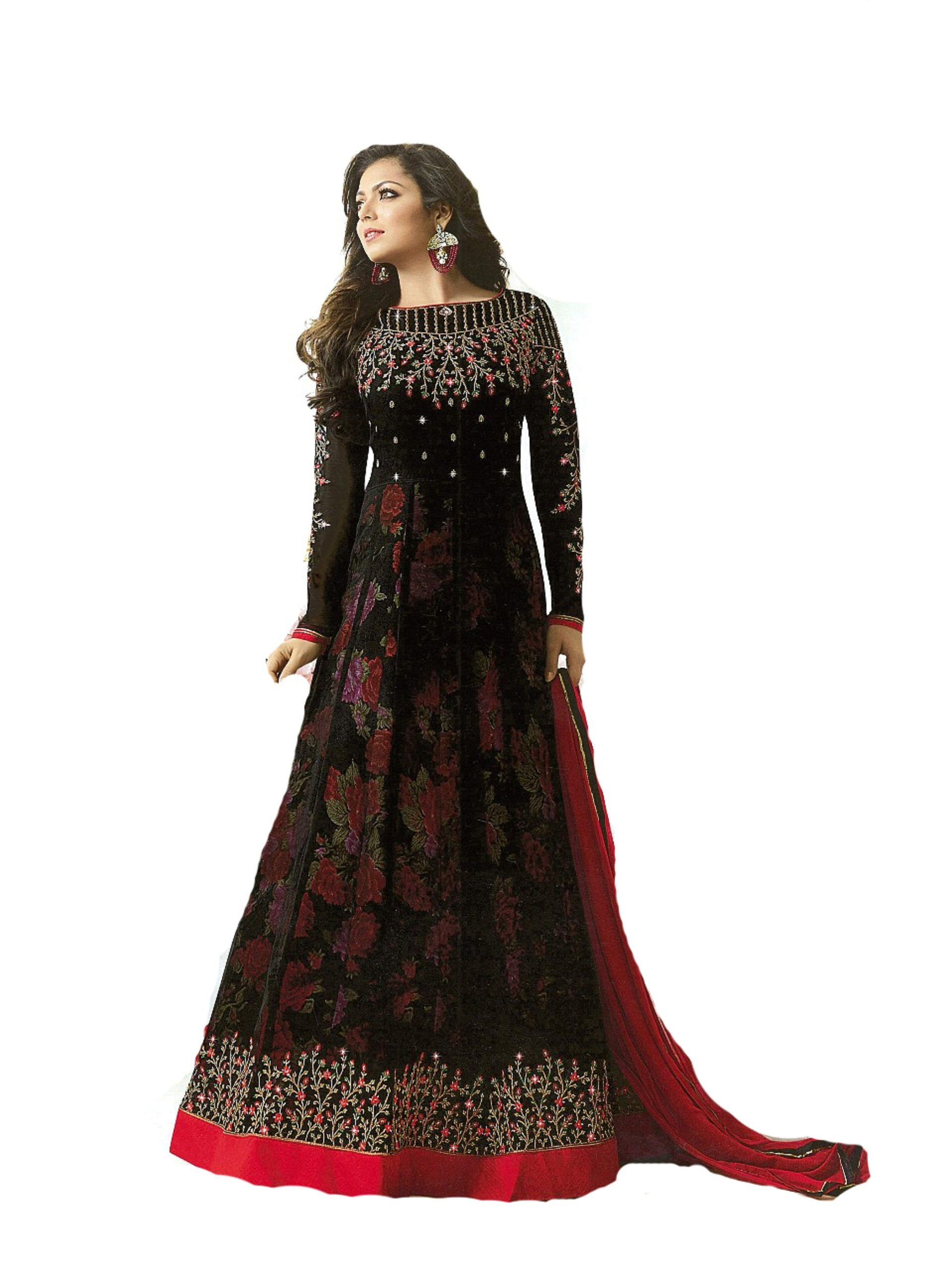 Delisa Indian Wear Anarkali Salwar Kameez Party Wear LT2 (Black, XXL-46)