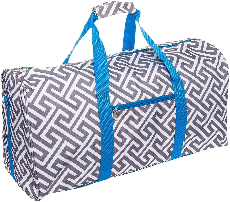 SilverHooks 22 inch Greek Key Duffle Travel Bag w Turquoise Trim Grey White