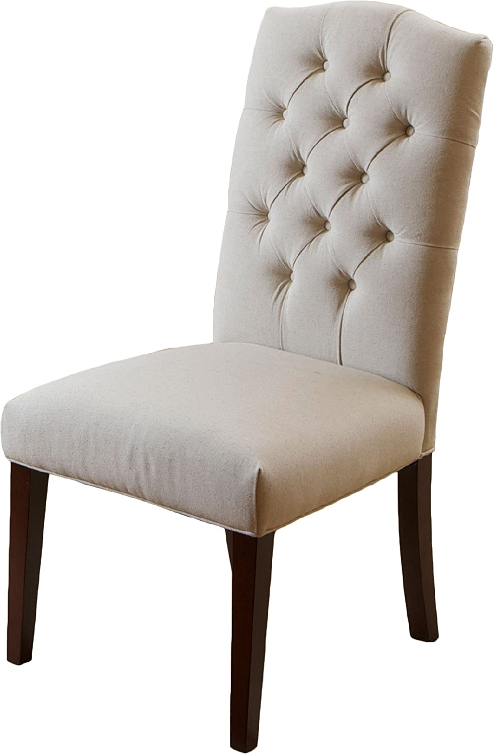 Christopher Knight Home Clark Elegant Upholstered Dining Chairs w Button Tufted Backrest Set of 2 , beige