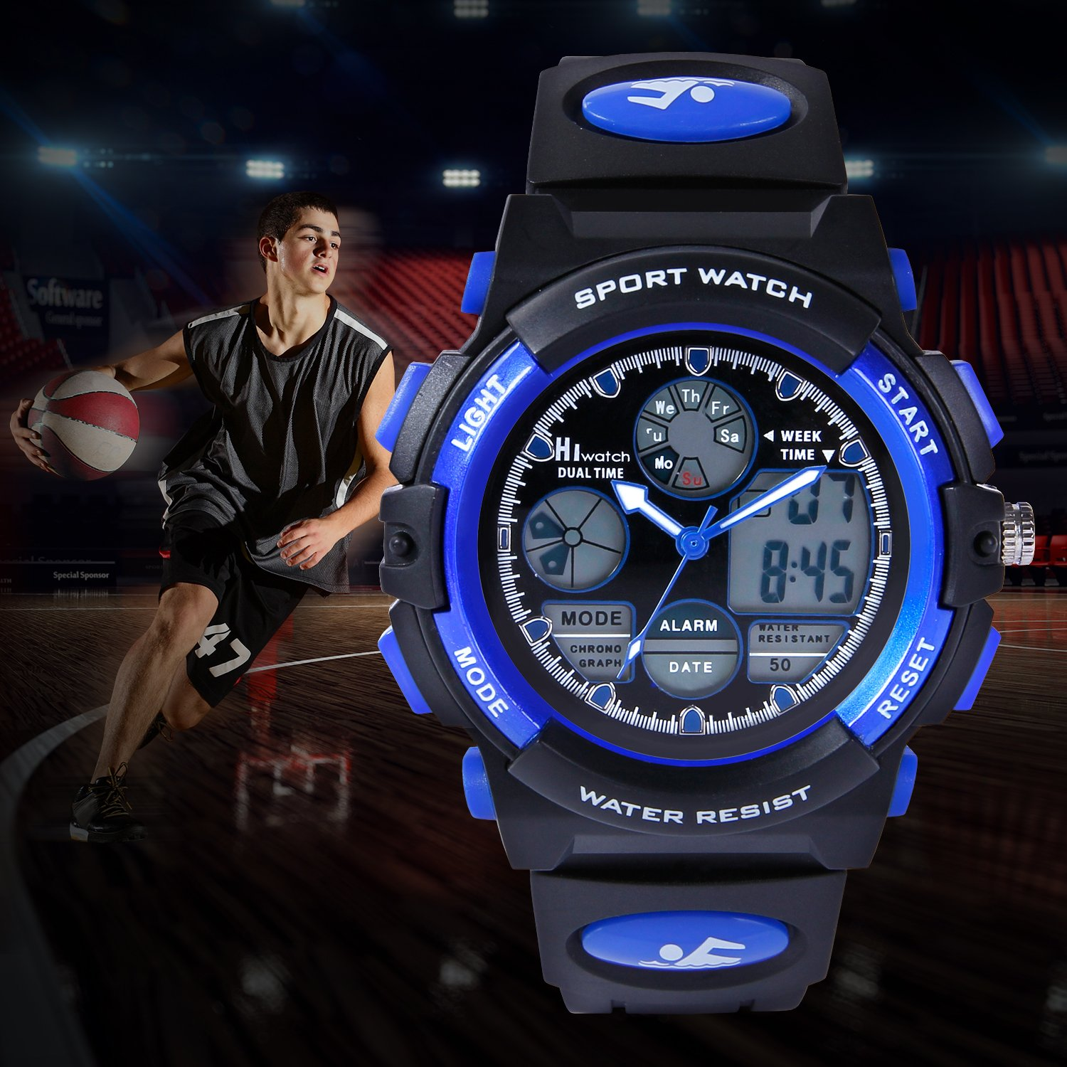 HIwatch Youth Watches Boys Girls Water-resistant Sports Digital Wrist Watch for Teenager Students,Blue by Hi Watch (Image #7)