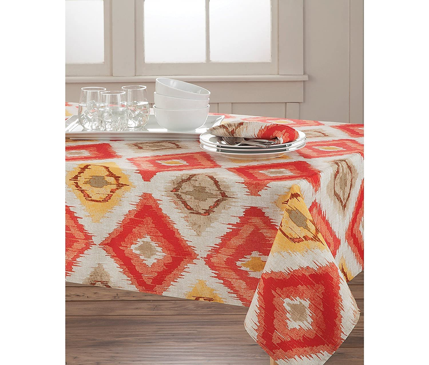 HomeCrate Classic Brussels Ikat Collection Microfiber Tablecloth Coral 70 Round 2199F070RNDCRL 70 Round