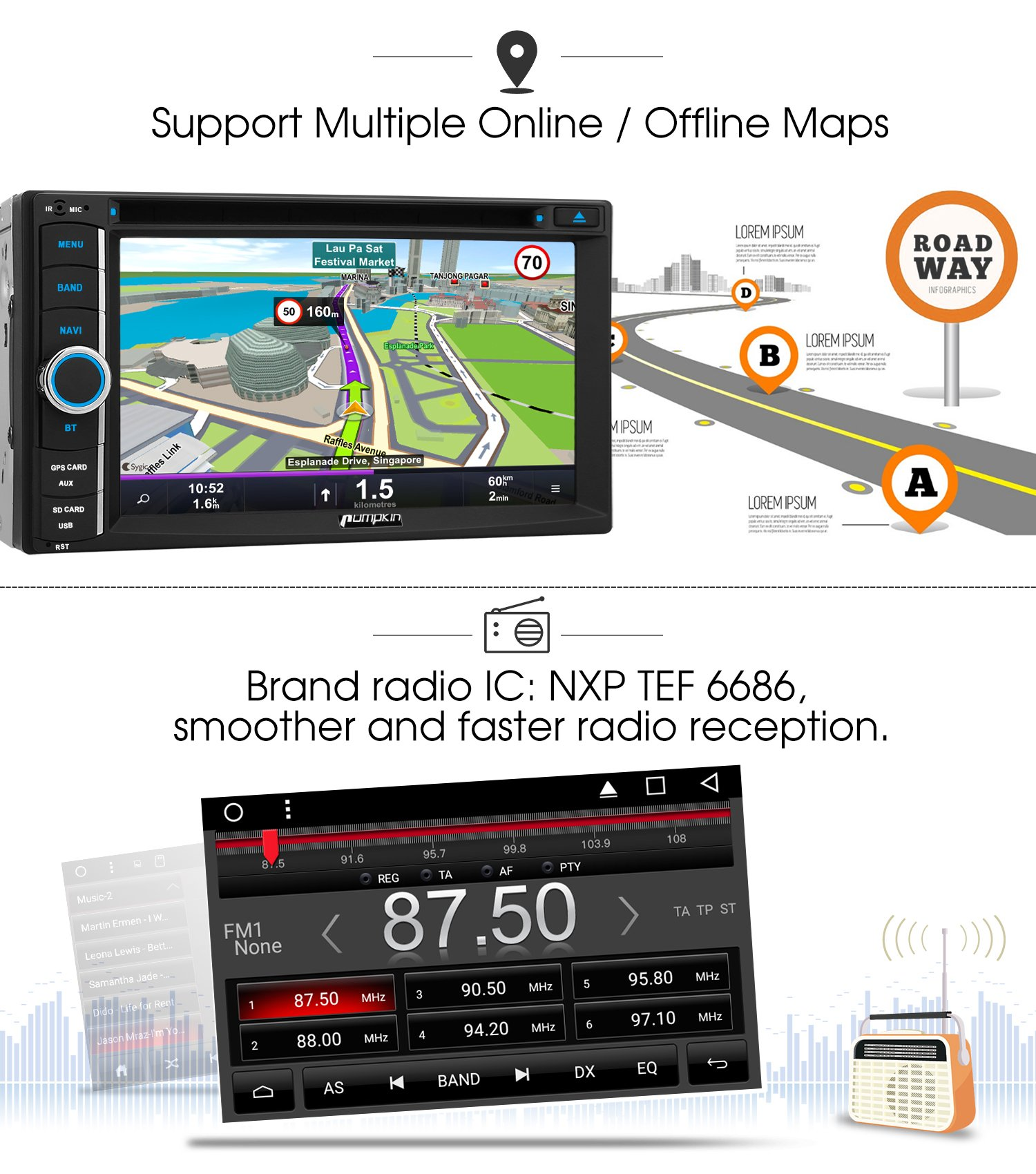 Android 7.1 Head Unit Double Din, Octa Core 32GB+ 2GB Car Stereo DVD CD Player with Navigation, Support Android Auto, Bluetooth, WIFI, MirrorLink, Backup Camera, AUX, Dash Cam, 6.2 Inch Touch Screen by PUMPKIN (Image #3)