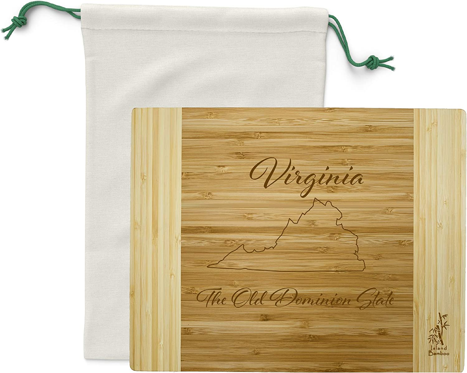 Island Bamboo USA Virginia Engraved State Cutting Board - Great for Kitchen Decor, Cheese Server, Personalized Charcuterie Board, Serving Platter, or Gifts for the Home with Canvas Bag