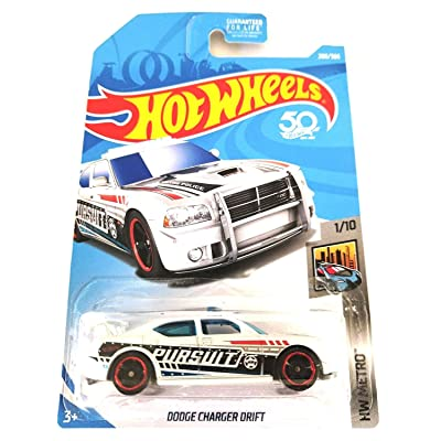 Hot Wheels 2020 50th Anniversary HW Metro Series Dodge Charger Drift (Police Car) 208/365, White: Toys & Games