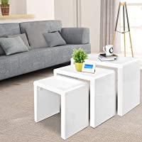 Artiss High Gloss Coffee Table, Wooden Nest of Tables, White