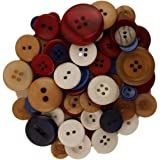 Buttons Galore Hand-Dyed Button, Red/Blue/White
