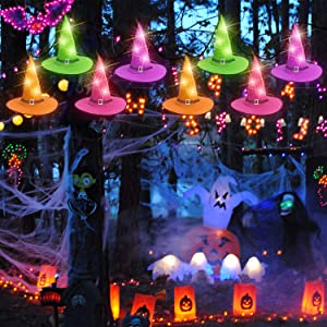 Rocinha Halloween Witch Hat String Lights Halloween Decorations 8pcs Lighted Hanging Witch Hats 14ft 8 Modes Light String Halloween Decor for Outdoor,Indoor, Tree,Garden, Yard,Home (8 Light Modes)