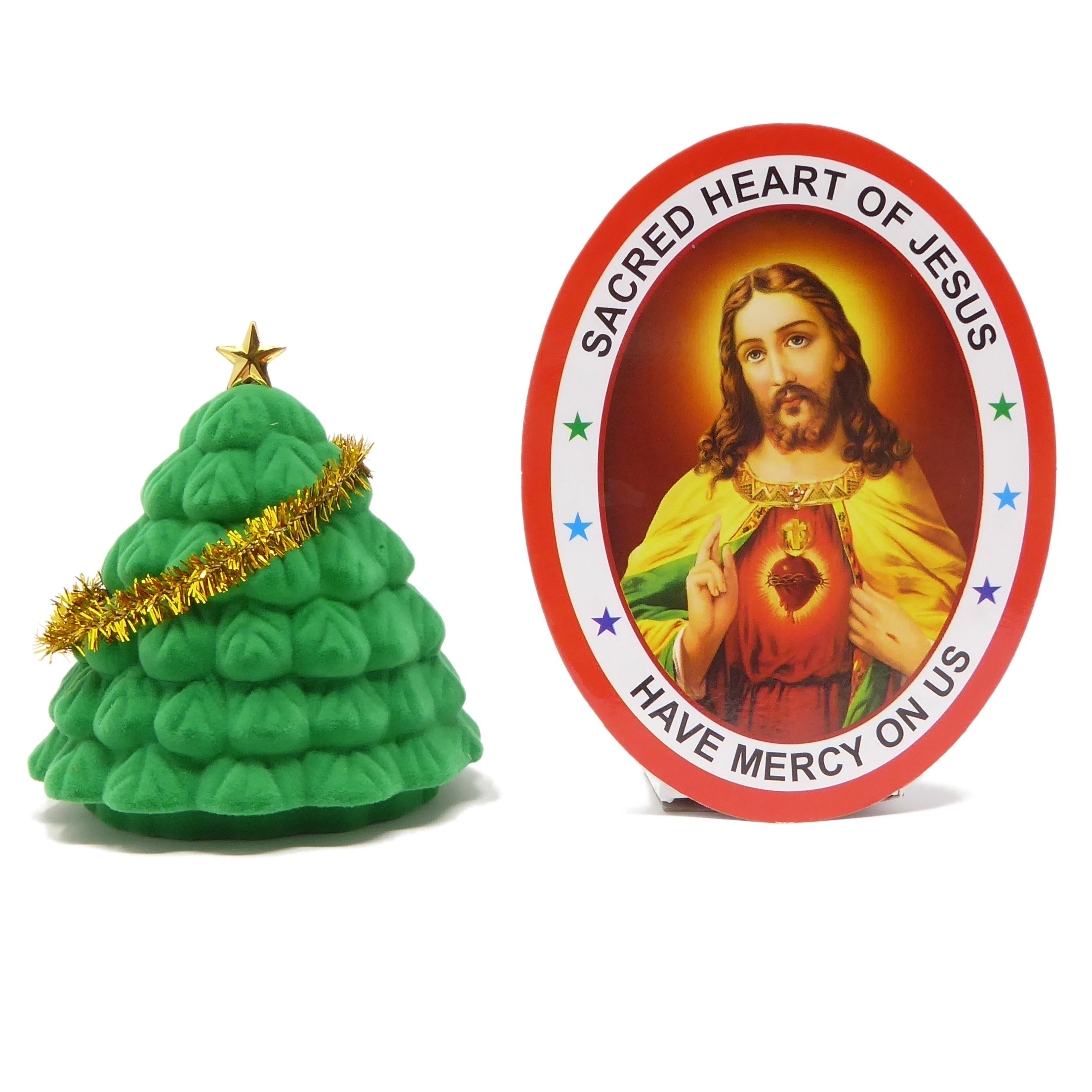 Rosary Heaven Pocket crib nativity scene in a Christmas tree gift box small 6cm Christian with window sticker by Rosary Heaven (Image #1)