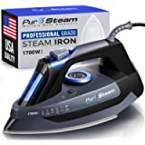 Professional Grade 1700W Steam Iron for Clothes with Rapid Even Heat Scratch Resistant Stainless Steel Sole Plate, True…