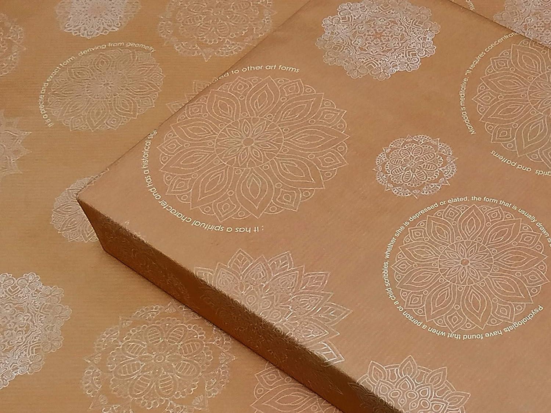 eVincE 10 Mandala Papel de regalo, papel de regalo, papel de regalo naranja, patrones de desestrés, regalos de aniversario, adultos, Pascua, hojas de regalo neutral, 42 x 68 cm