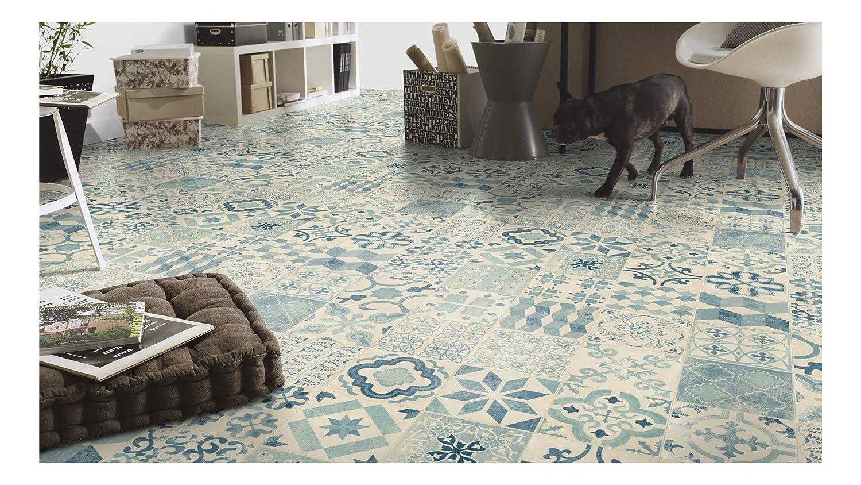 2 x 4m Sol PVC Lino Imitation Carreaux de ciment bleu