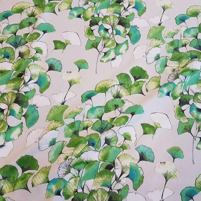 Baumwollstoff Dekostoff Natur Blätter  Breite 160cm