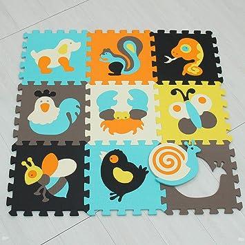 Puzzle Tapis Mousse Bebe Animaux 9 Pieces 9 Dalles 30x30 Cm Enfant Bas Age Mushen 010