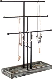 MyGift Black Metal 3-Tier Jewelry Display Stand with Wooden Ring Tray