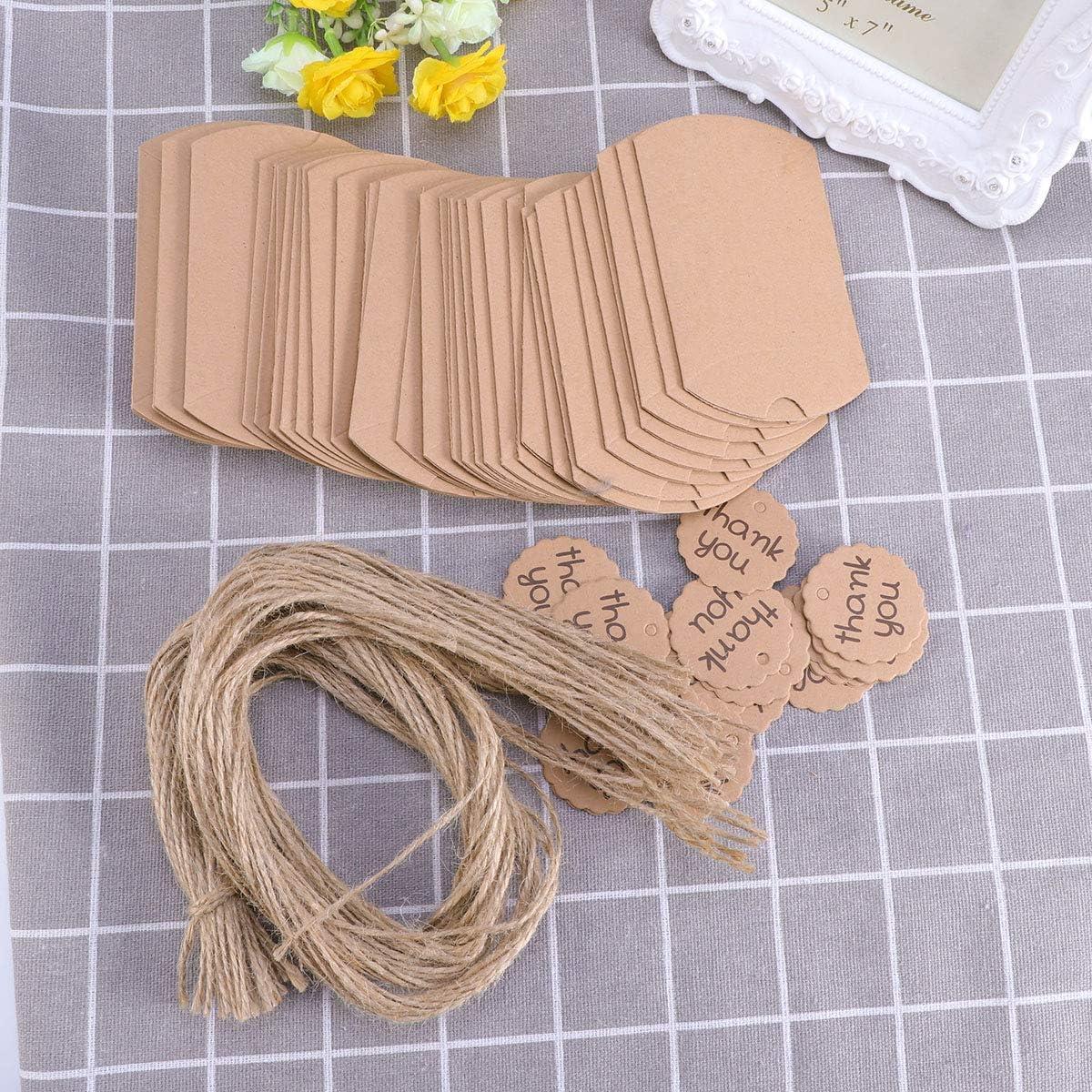 YeahiBaby Kraft Paper Pillow Box Thank You Card Retro Gift Box DIY Wedding Birthday Party Favors 20pcs