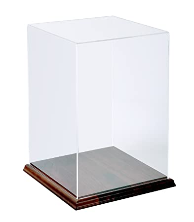 Museum Box Case and Hardwood Base – 18H x12W x12D x 3 16 Thick Walls Acrylic Box Case with Walnut Base