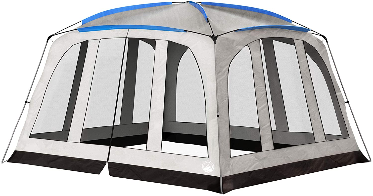 Screened-in Canopy Tent- 14'x12' Mesh Screen House for Instant Shelter, Shade & Camping– Zippered Door- Mosquito & UV Protection by Wakeman Outdoors, Gray, Large (75-CMP1103)