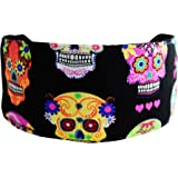 Day of the Dead Soft Wide Cloth Headband Multicolor Skulls and Hearts Over Black
