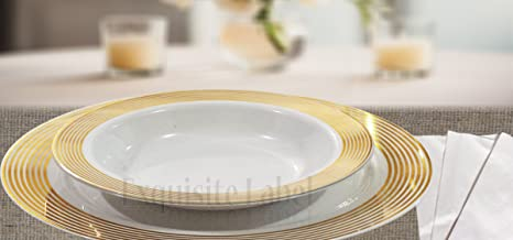 \u0026quot;Exquisite Lable\u0026quot; White with Gold Heavyweight Plastic Elegant Disposable Plates Wedding Party & Amazon.com: \