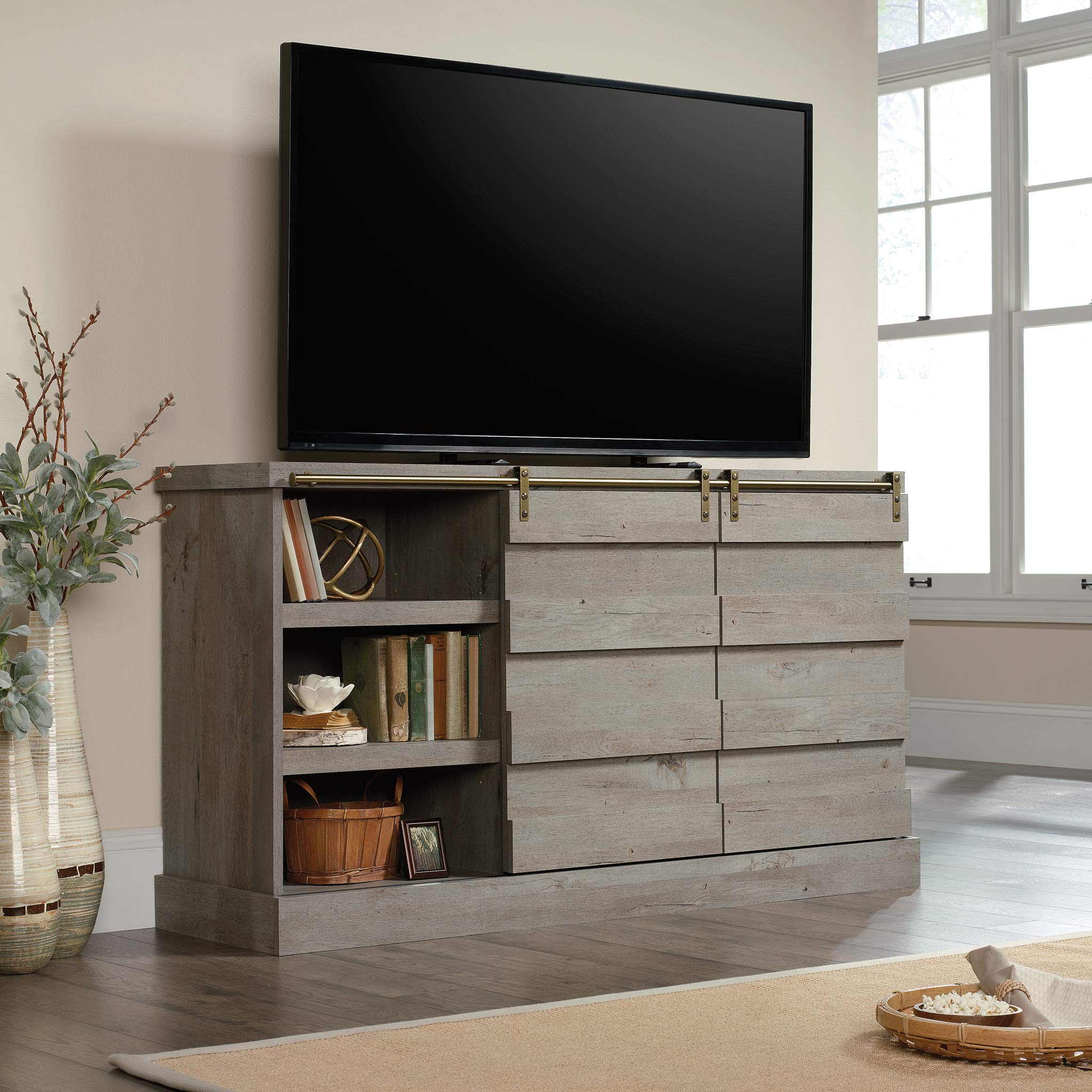 Sauder 422875 Cannery Bridge Credenza, Accommodates up to a 60'' TV Weighing 70 lbs. or Less, Mystic Oak Finish by Sauder (Image #4)