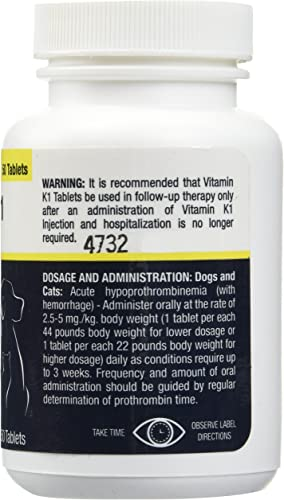 Vet One Vitamin K1 Chewable Tablets, Phytonadione 50mg, 50 Beef Flavor Tablets