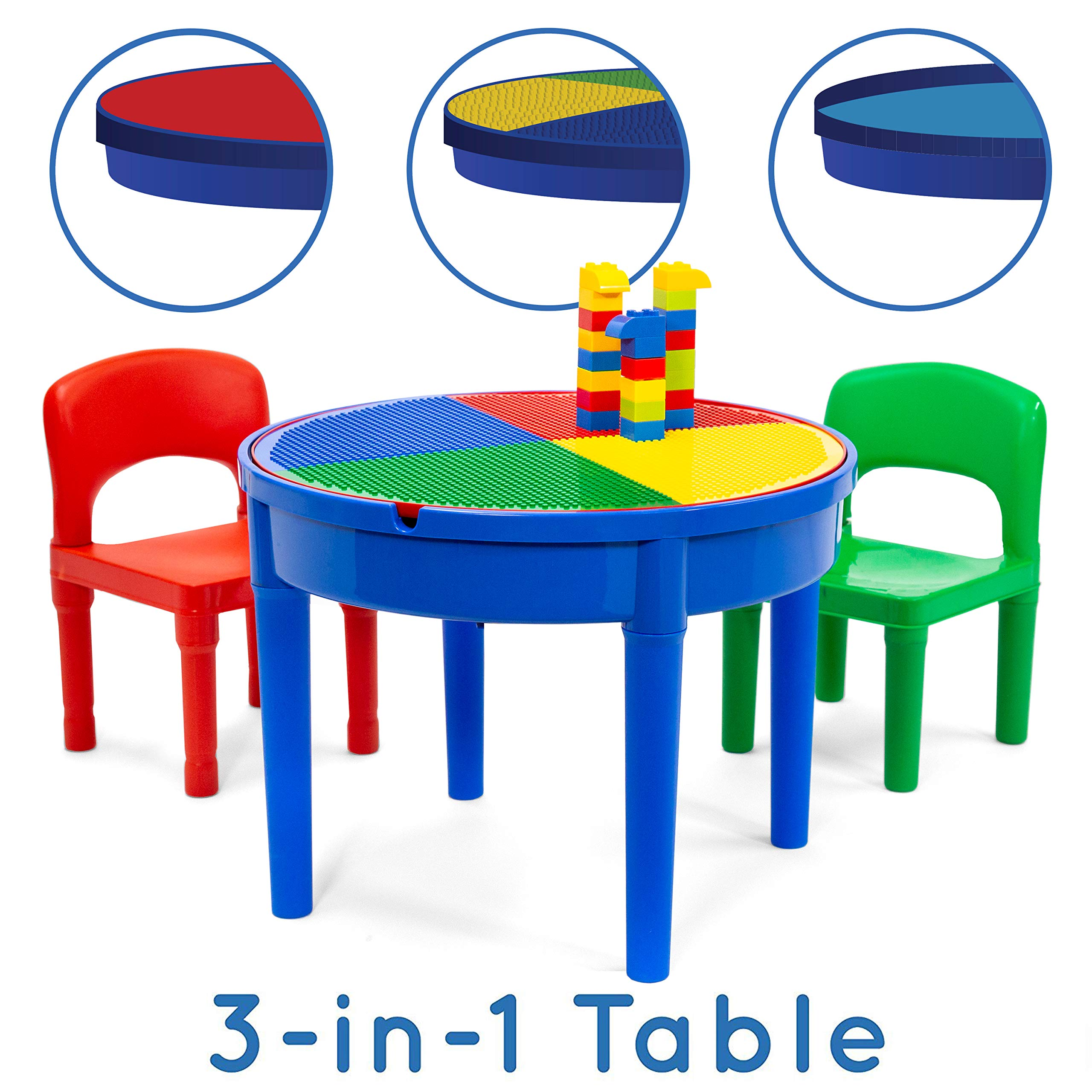 Play Platoon Kids Activity Table Set - 3 in 1 Round Water Table, Craft Table and Building Brick Table with Storage - Includes 2 Chairs and 25 Jumbo Bricks - Primary Colors by Play Platoon