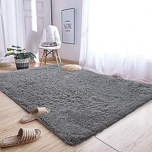 Andecor Soft Fluffy Bedroom Rugs - 5 x 8 Feet Indoor Shaggy Plush Area Rug for Boys Girls Kids Baby College Dorm Living Room Home Decor Floor Carpet, Grey