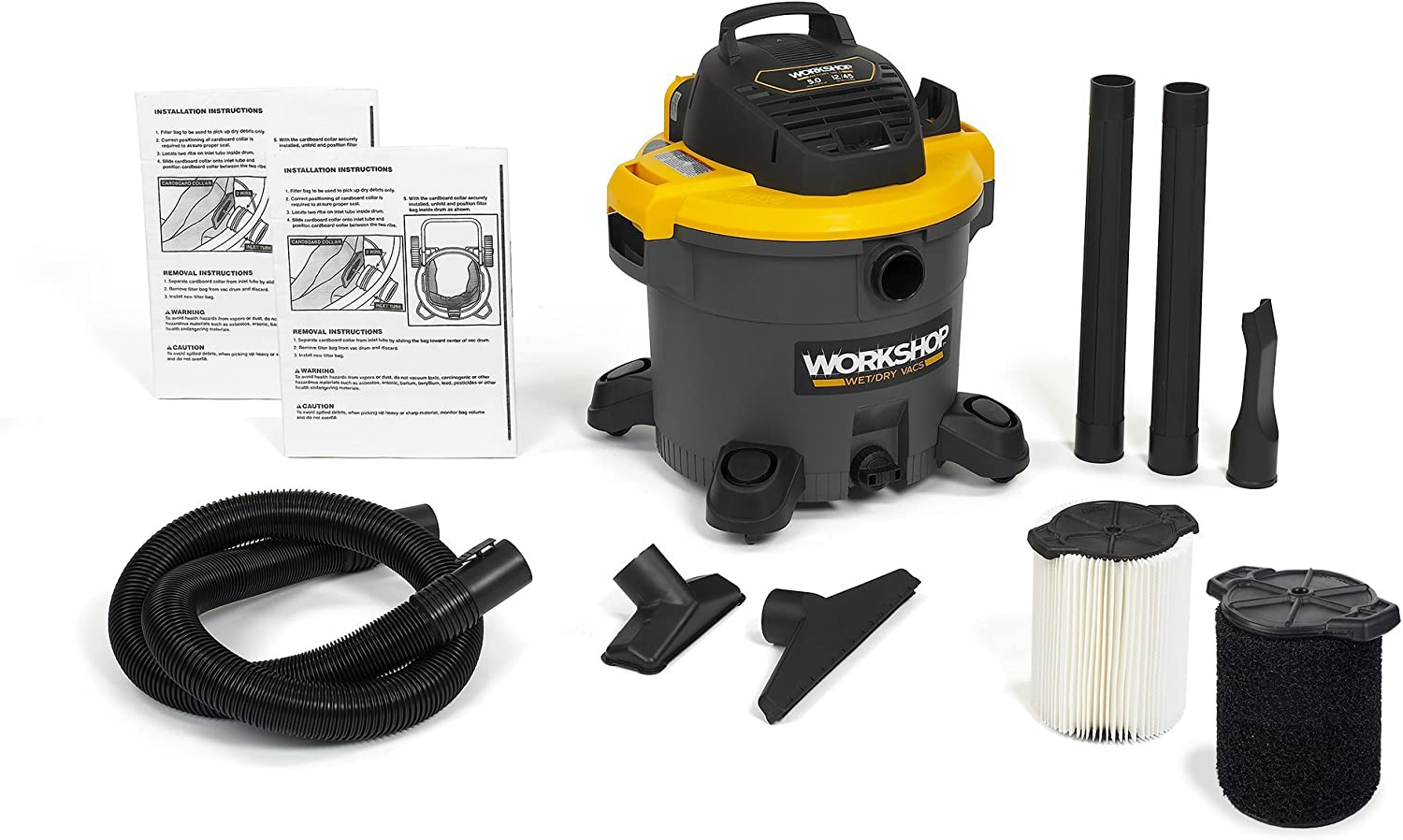 WORKSHOP Wet Dry Vac WS1200VA, 12-Gallon Shop Vacuum Cleaner, 5.0 Peak HP w/bags and filter
