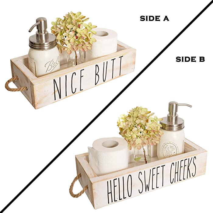 Nice Butt Bathroom Decor Box, 2 Sides with Funny Sayings - Funny Toilet Paper Holder Perfect for Farmhouse Bathroom Decor, Toilet Paper Storage, Rustic Bathroom Decor, or Diaper Organizer (White)