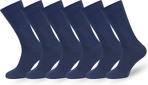 Easton Marlowe 6 PR Calcetines Lisos Negros Hombre Mujer, Algodón ...
