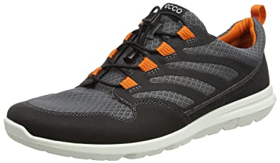 ECCO Men's Calgary Sneaker Black/Titanium/Orange, 41 EU/7-7.5