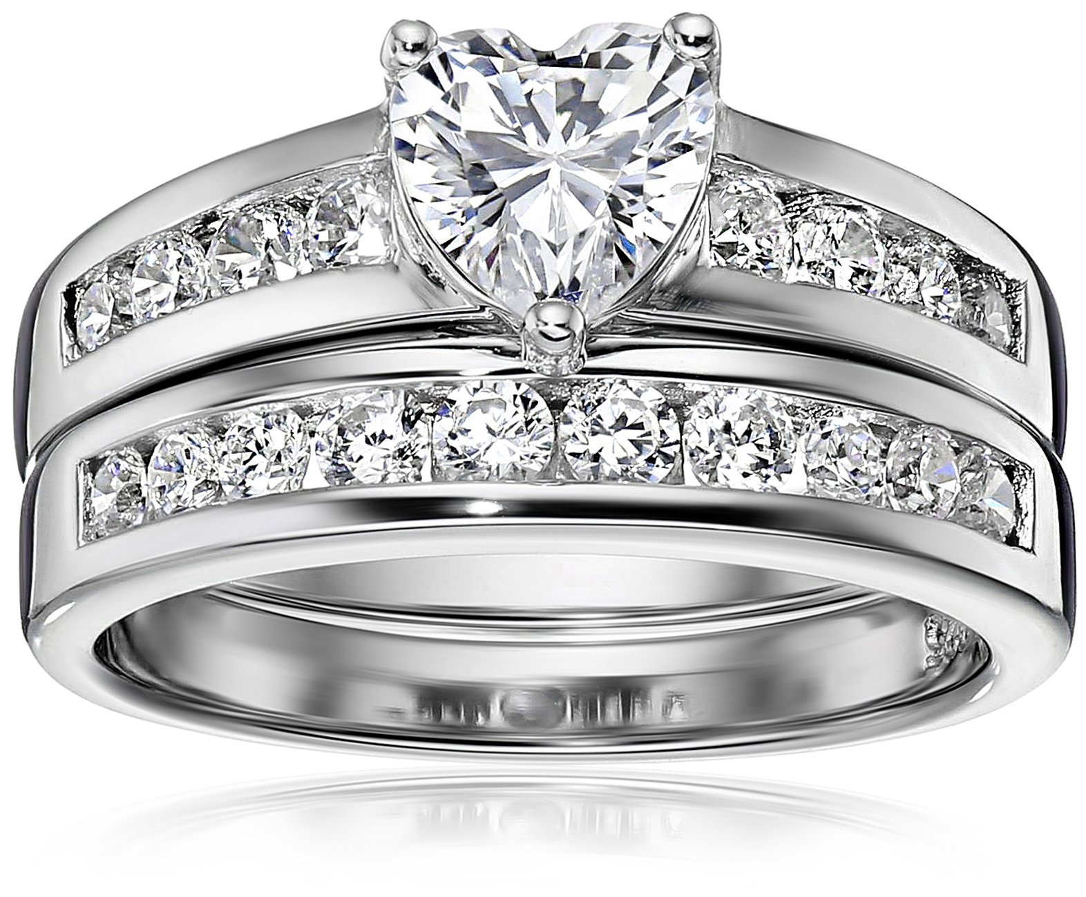 Platinum Plated Sterling Silver Cubic Zirconia Heart-Shaped Ring Set, Size 7