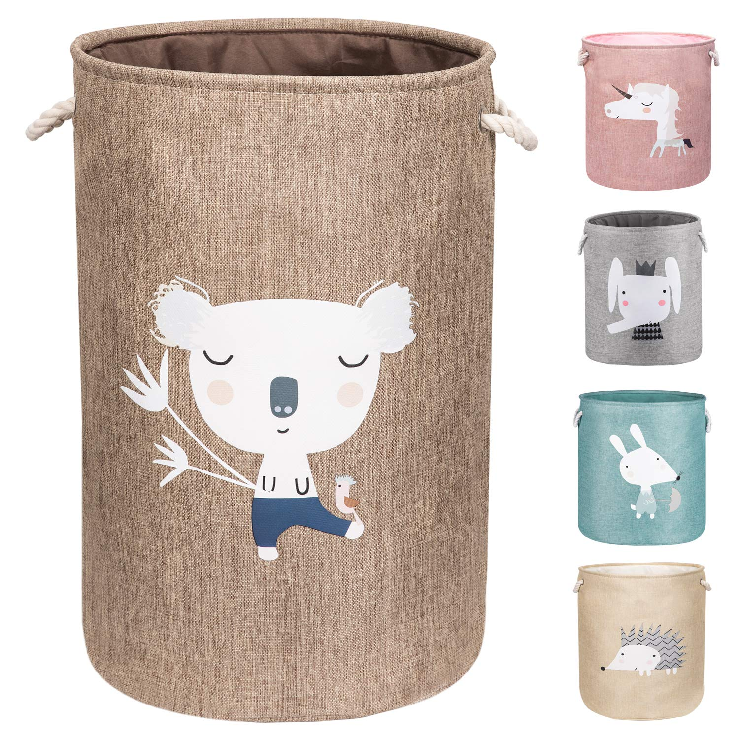 "AXHOP 22"" Upgrade Large Foldable Laundry Basket with Lid, Toy Storage Baskets for Kids, Dog, Toys, Clothes, Room Décor. Cute Animal Laundry Hamper (Koala)"