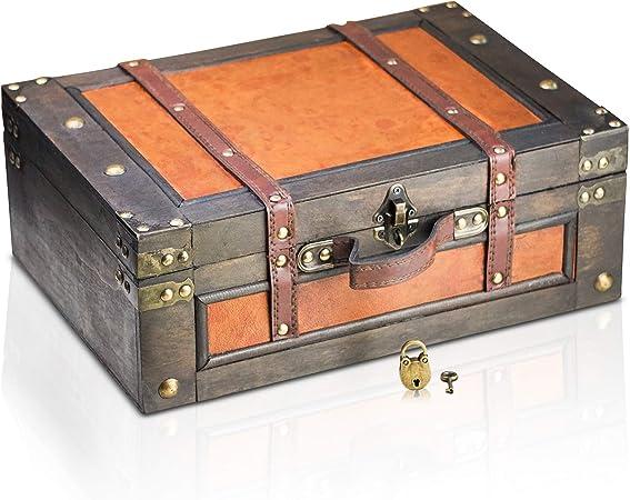 Brynnberg Caja de Madera Marco 38x27x14cm - Cofre del Tesoro Pirata de Estilo Vintage - Hecha a Mano - Diseño Retro - joyero - con candado: Amazon.es: Hogar
