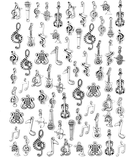 80pcs Charms Music Note Symbol Pendants for Necklace Bracelet Jewelry Crafts