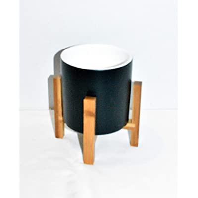 "New 6"" Matte Black Cylinder Shape Planter Plant Pot & Bamboo Wood Stand : Garden & Outdoor"