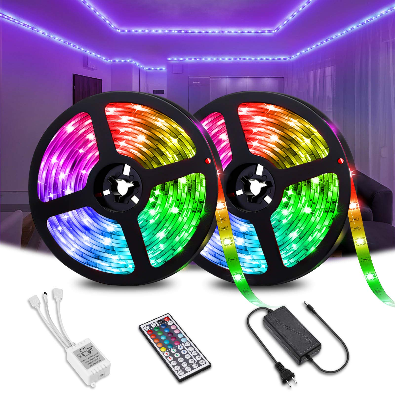 Elfeland LED Strip Lights 32.8FT/10M 300LEDs SMD5050 RGB Light Strip IP65 Color