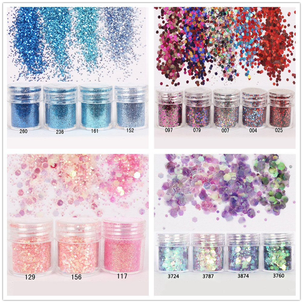 NICOLE DIARY 16 Boxes Colorful Nail Chunky Glitter Dazzling Hexagon Sequins Tips Iridescent Flakes for Nail Hair Face Art Makeup