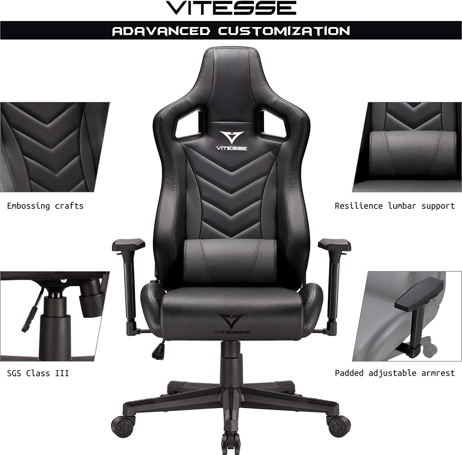Sillas Gaming Black Ergonomic Computer Desk Chair Racing Style Comfortable Chair High Back Swivel Executive Leather Chair With Lumbar Support And Headrest Vitesse Gaming Chair Furniture Home Office Chairs