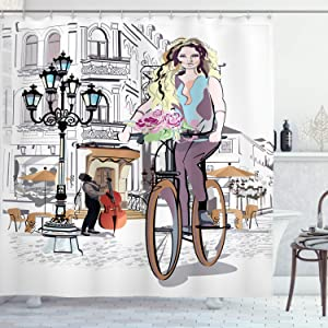 """Ambesonne Paris Shower Curtain, Young Girl with Bike and Roses in a Street Old Town Musician Romantic Tour in City, Cloth Fabric Bathroom Decor Set with Hooks, 70"""" Long, Pink"""