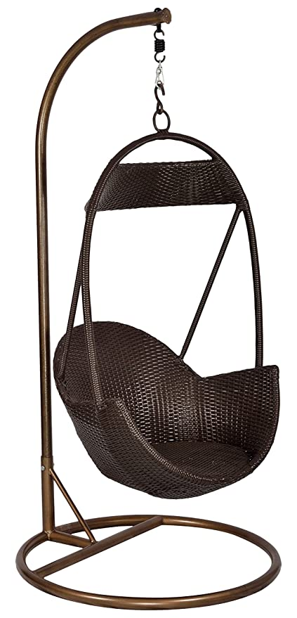 """FurniFutureâ""""¢ Mars Outdoor Hanging Swing Chair with Stand - (Brown)"""