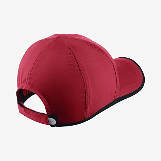 8123daac34a Nike Unisex Dri-Fit Feather Light 2.0 Tennis Cap Hat-Red Black-Adjustable   Amazon.in  Sports
